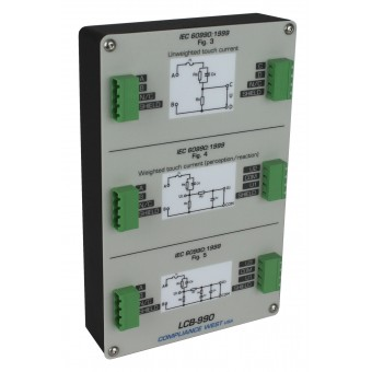 Leakage Current Box Config 990:  Unweighted, Perception and Let-Go Networks (IEC 60990 Figure 3, Figure 4 and Figure 5) in one enclosure