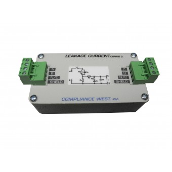 Leakage Current Box Config 1 (Unweighted Touch) - Compliance to: IEC 60990 Fig 3 and IEC 61010-1:2010 Fig A.3